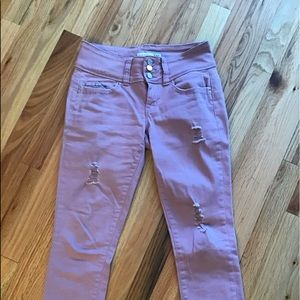 Distressed YMI rose pink cropped jeans